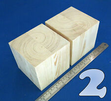 "LOT x 2 CUBES 4.5""/~115 mm WOODEN BLOCKS BUNDLE SET PINE WOOD NATURAL ECO BRICKS"