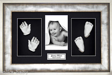 New Unique Large Baby Casting Kit Gift Silver Hand & Feet 3D Urban Metal Frame