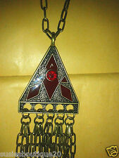 Ladies Gorgeous TopShop Red Enamel Triangle Chain Tassle Pendant Super Gift BNWT