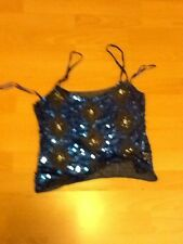 Stunning blue beaded and sequin front cami top with crochet back. S/m. Grattan.