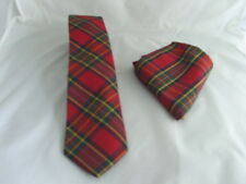 "NEW Royal TARTAN Red/Green Polyester Mens Slim Tie and Hanky Set-3""=7.5cm Width"