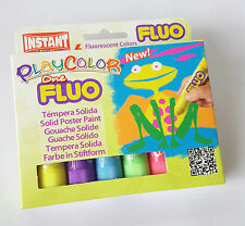 Playcolor Solid Poster Paint Sticks ** Pack Of 6 x Fluorescent Colours **