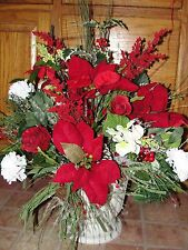 Love Valentines Day Urn Red White Silk Flowers Cemetery Garden Grave Funeral