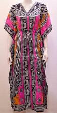 PLUS SIZE FUNKY BOHO HIPPIE FLORAL ABSTRACT GRID OMBRE LONG KAFTAN PINK 22 24 26
