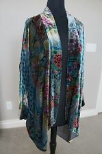 NEW Johnny Was BOHEMIAN Silk Velvet Vibrant Long Draped Kimono Jacket Cardigan S