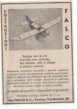 Pubblicità vintage GIOCATTOLO COSTRUZIONI FALCO advert reklame werbung publicitè