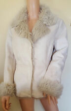 BHS CREAM FAUX SHEEP SKIN JACKET/COAT FAUX FUR SIZE UK 10