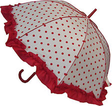 Blooming Brollies Boutique Polka Dot with Frill Stick Umbrella - Red