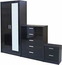 High Gloss 2 Door Mirrored Wardrobe Bedroom Furniture Set Chest And Bedside