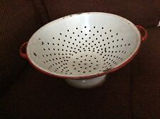 Vintage Red and White Enamel Colander Strainer Kitchen Enamelware