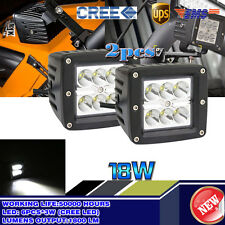 Pair Dually Cube 18W CREE LED Spot Fog Driving Light For Offroad Bar Jeep Truck