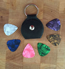 Genuine Leather Keychain Guitar Pick Holder Plectrum Bag Black Case + 6 Picks