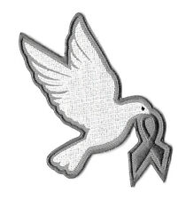 Dove - Hope - Embroidered Iron On Applique Patch