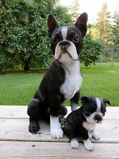 BOSTON TERRIER MOM PUPPY DOG FIGURINE RESIN PET DECOR GIFT DOGS 16.5""