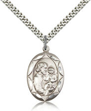 Sterling Silver Men's Patron Saint Medal of ST. JOSEPH - Includes 24 Inch Hea...