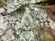 "PURPLE & GOLD FAUX SILK DAMASK JACQUARD 56""W FABRIC DOUBLE SIDE BY YARD"