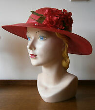 VINTAGE 1930'S STYLE RED WIDE BRIM STRAW HAT ROSES MILLINERY FLOWERS WEDDING