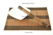 4 Handmade Bamboo Wood Placemats Table Mats, Black-Brown, P008