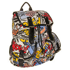 Multi Coloured Blue Banana Comic Print Geek Nerd Backpack Rucksack School Bag