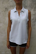 La Martina Women Polo T- Shirt Top Stretch Auth Light Grey beige Sleeveless XL