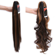 Claw On Real Thick Ponytail Clip In Hair Extensions Straight Wavy For Human Hair