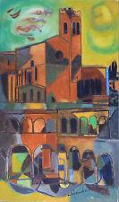 """André MARCHAND (1907-97) HsT Nle Ecole de Paris  """"Paysage à l'église Sienne"""""""