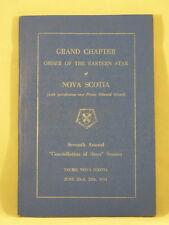 GRAND CHAPTER ORDER OF THE EASTERN STAR OF NOVA SCOTIA 1954 Canada Masonry PB