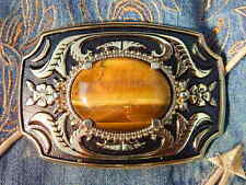 NEW HANDCRAFTED  GOLDEN TIGERS EYE STONE BELT BUCKLE GOLD/BLACK METAL,WESTERN