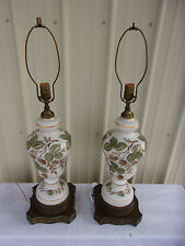 Vintage Pair of Floral Table Lamps Light Up Base