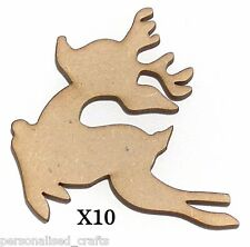 X10 Wooden MDF Christmas Decorations Santa's Reindeer Embellishments Card Making
