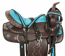 NEW WESTERN PLEASURE TRAIL BARREL RACING SHOW HORSE SADDLE TACK SET 14 15 16