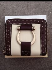 New French Designer LANCEL Leather Wallet - Beige with Brown Trim