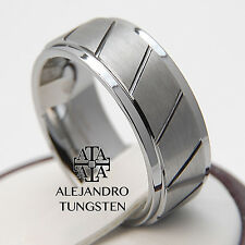 Tungsten Ring Men's Wedding Comfort Band 8MM Silver Lined Brushed Size 6 #EII