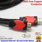 3pcs 1M HDMI Cable V1.4 3D High Speed w/ Ethernet HEC Full HD 1080p Gold Plated