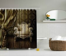 Royal Victorian Chair Digital Print Shower Curtain Old Wallpaper Graphic Curtain