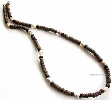 Brown Co-Co Wood Beads Shells Fashion Necklace Men's Teen's Surfer Choker 18""