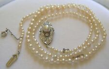 Antique Edwardian Natural Pearl Necklace Large Platinum Diamond Pearl Clasp