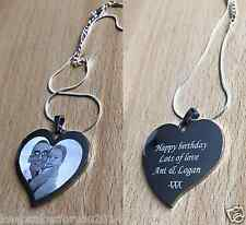 Personalised Engraved Photo & Text Heart Pendant -  Wedding Birthday Gift