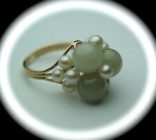 14k Solid Gold Jade & Pearl Fine Cluster Ring