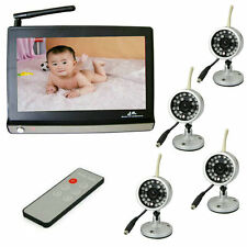 """2.4G 7.0"""" LCD Video Baby Monitor with Night Vision Remote Wireless 4 Camera"""