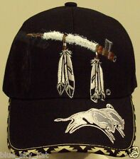 INDIAN AMERICAN NATIVE PRIDE FEATHERS CALUMET PEACE PIPE BUFFALO TRIBE CAP HAT
