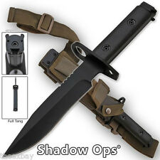 "FULL TANG m 1/4 9 Blade Bayonet BLACK Handle Combat Knife Sheath Ar 14"" 15"" 16"""