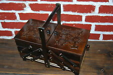 FANTASTIC VERY LARGE 36 cm LONG WOODEN SEWING BOX VINTAGE STYLE HAND CRAFTED