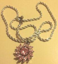 pendentif chaine bijou vintage couleur argent cristal rose signé NAPIER * 4662