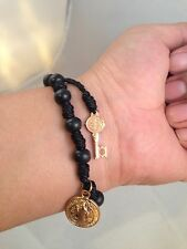 Saint Benedict Wood Beads & Cord ROSARY Bracelet with key to heaven pendant bk