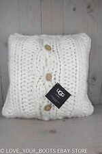 UGG OVERSIZED KNIT HAND KNIT ARM KNIT THICK CHUNKY WOOL ROVING PILLOW 20X20 NWT