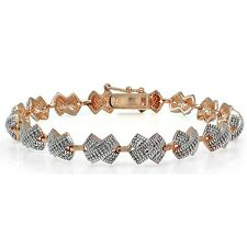 Genuine Diamond Accent X Tennis Bracelet in Rose Gold Plated Brass