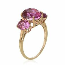 Kunzite Colour Quartz 3 Stone Ring in 14K Gold Overlay Sterling Silver  {A21}