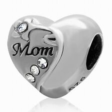 925 STERLING SILVER CRYSTAL I LOVE MOM CHARM BEAD FITS EUROPEAN BRACELET S3270