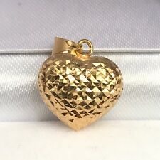 18k Solid Yellow Gold Cute Small 3D Heart  Diamond Cut Charm/ Pendant.